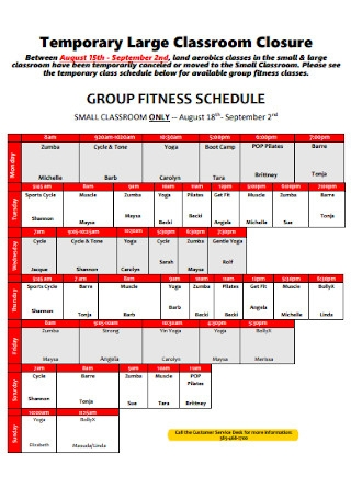 Fitness Classroom Schedule Template