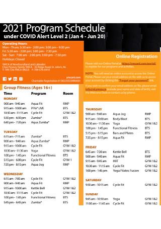 Fitness Program Schedule Template