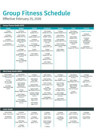 Fitness Schedule Format