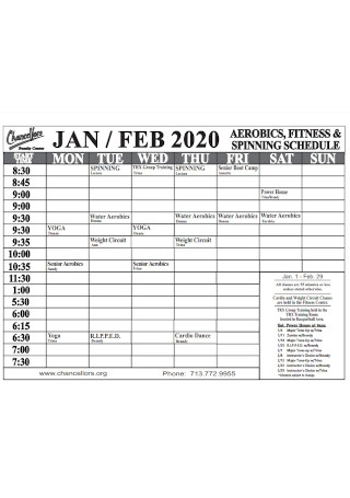 Fitness Spinning Schedule
