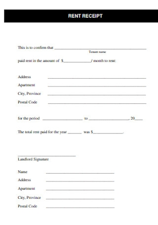 Formal Monthly Rent Receipt Template