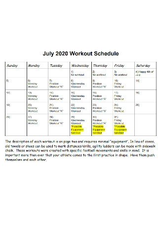 Formal Workout Schedule Template