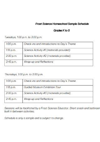 Frost Science Homeschool Sample Schedule