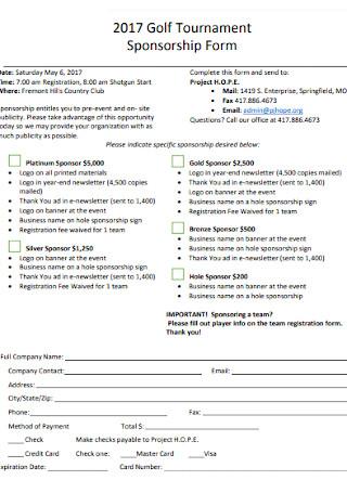 Golf Tournament Sponsorship Form