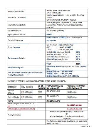 Health Insurance Receipt Template