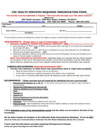 Health Service Immunization Form