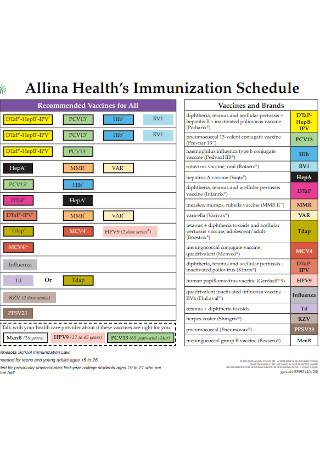 Healths Immunization Schedule