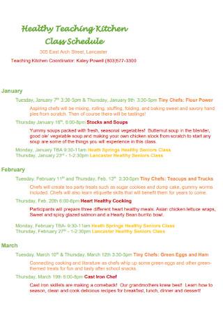 Healthy Teaching Kitchen Schedule