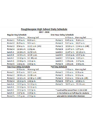 High School Daily Delay Schedule