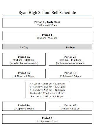 High School Early Class Schedule