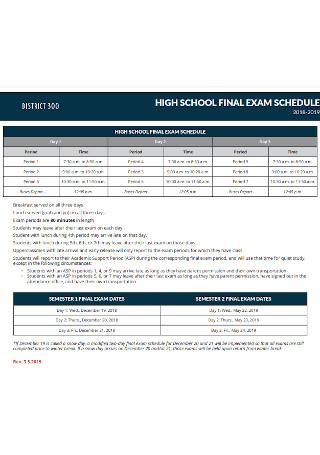 High School Final Exam Schedule