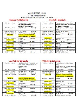 High School Rally Schedule