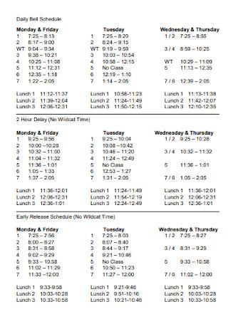High School Regular Schedules