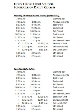 High School Schedule for Daily Class