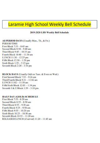 High School Weekly Bell Schedule