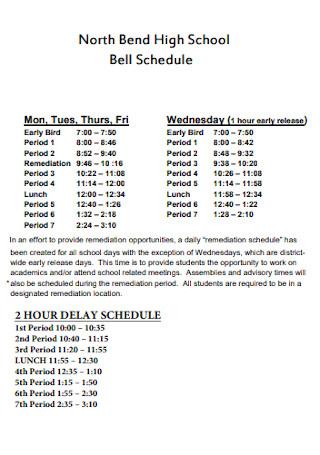 High School Weekly Schedule