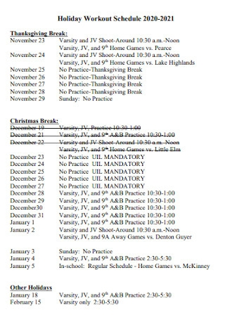 Holiday Workout Schedule
