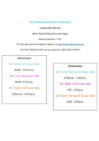 Homeschool Dance Schedule