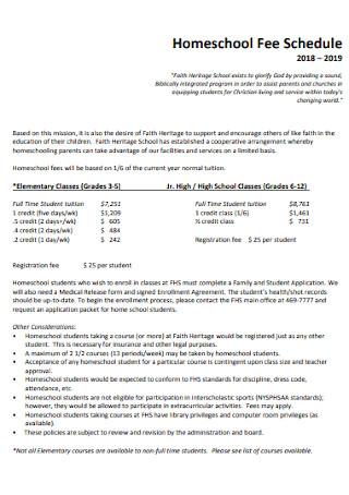 Homeschool Fee Schedule