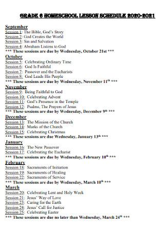 Homeschool Lesson Schedule Template