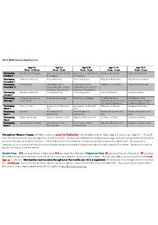 Homeschool Lesson Schedule