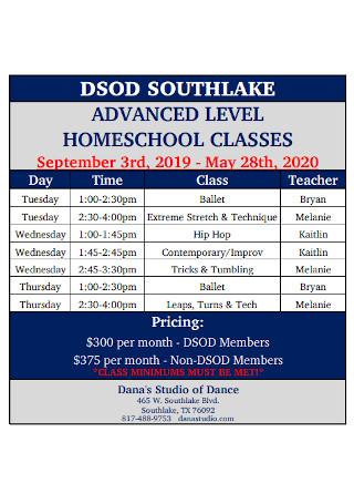 Homeschool Teacher Schedule