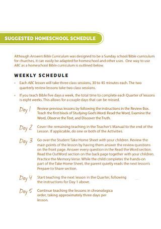 Homeschool Weekly Schedule