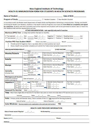 Immunization Form for Students