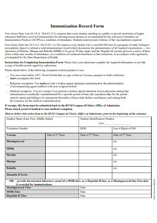 Immunization Record Form