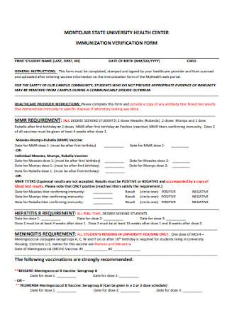 Immunization Verification Form Template