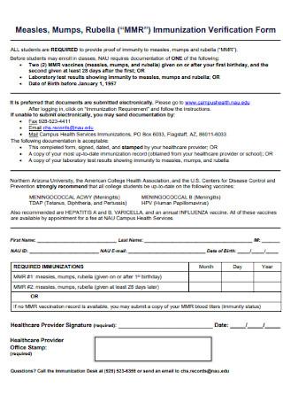 Immunization Verification Form