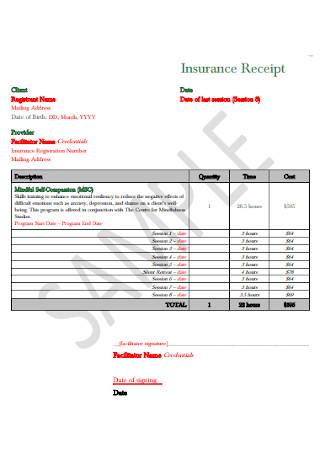 Insurance Receipt Format