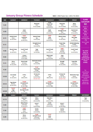 January Group Fitness Schedule