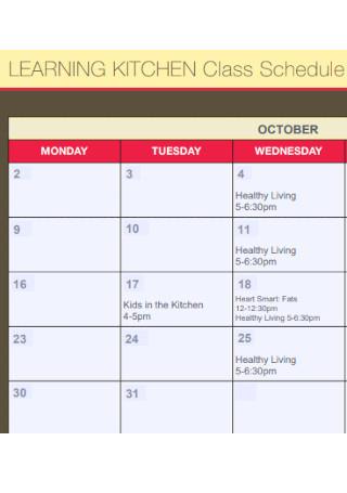 Kitchen Class Schedule Template