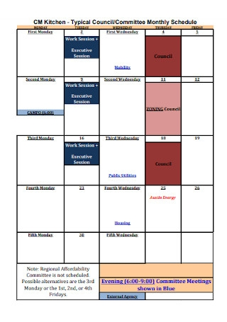 Kitchen Committee Monthly Schedule