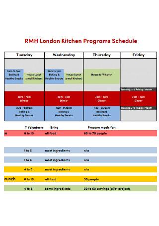 Kitchen Programs Schedule