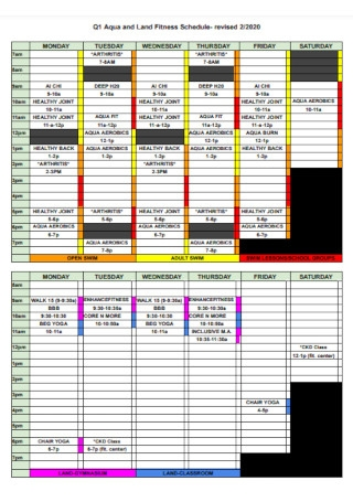 Land Fitness Schedule