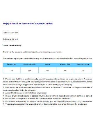 Life insurance Company Receipt
