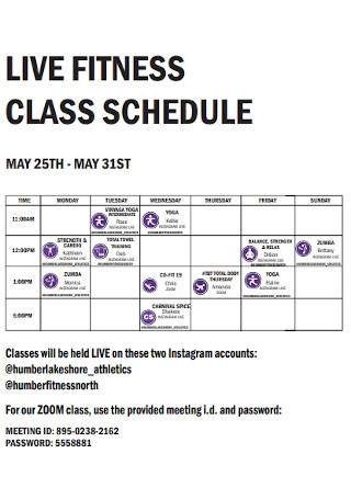 Live Fitness Class Schedule
