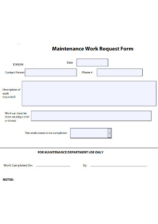 Maintenance Work Request Form