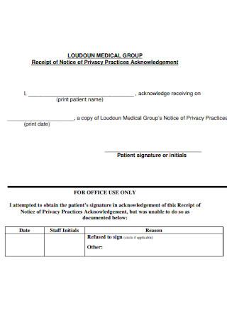 Medical Group Receipt