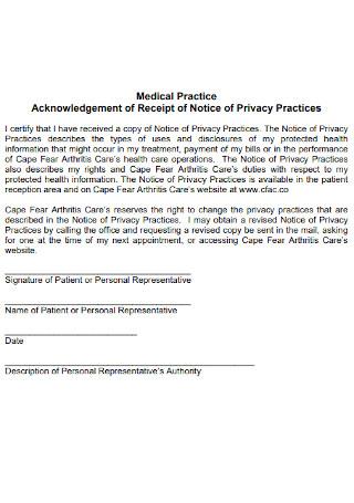 Medical Practice Acknowledgement of Receipt