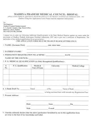 Medical Registration Receipt