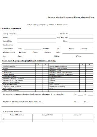 Medical Report and Immunization Form