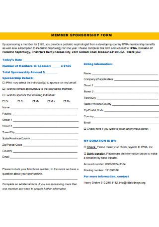 Member Sponsorship Form