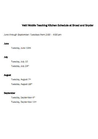 Mobile Teaching Kitchen Schedule