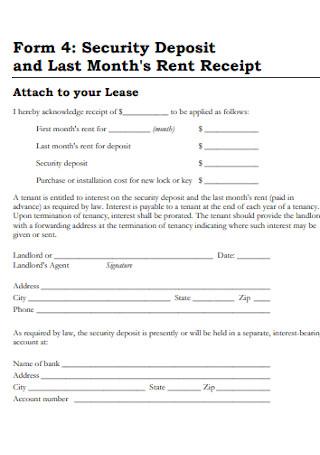 Month Rent Deposit Receipt
