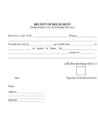 Monthly House Rent Receipt