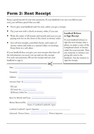 Monthly Rent Receipt Form