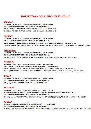 Norristown Soup Kitchen Schedule